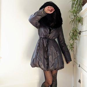 Black puffer coat with fur trim